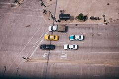 Chicago Street Birds Eye View Taxi Stock Photos
