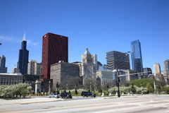 Chicago Street Corner and Skyline Royalty Free Stock Images