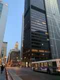 Chicago Street View in the Twilight Twilight royalty free stock images
