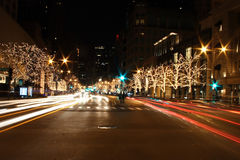 Chicago streets. Chicago street decorated for Christmas Stock Photography