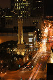 Chicago Streets. Aerial view of downtown Chicago streets in the evening showing the historic Water Tower that survived the great Chicago Fire Stock Image
