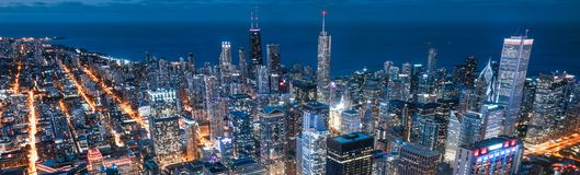 Chicago streets, ligths and night stock photo