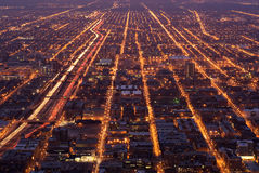 Chicago streets at night. Aerial view of streets through Chicago at night Royalty Free Stock Photography