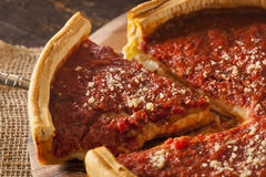 Chicago Style Deep Dish Cheese Pizza Royalty Free Stock Photo
