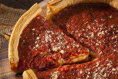 Chicago Style Deep Dish Cheese Pizza Stock Photo