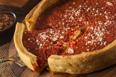 Chicago Style Deep Dish Cheese Pizza Stock Images