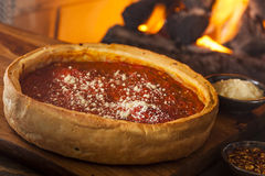 Chicago Style Deep Dish Cheese Pizza Royalty Free Stock Photography
