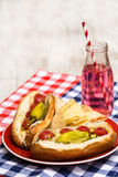 Chicago Style Hot Dogs With Soda Pop Stock Photo