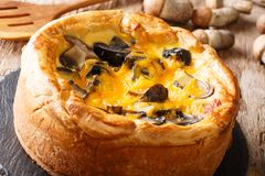 Chicago style pizza with forest mushrooms, cheddar cheese, chick royalty free stock photos