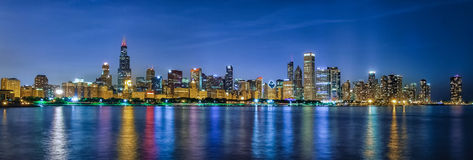 Chicago Style Skittles. Beautiful evening in Chicago and view of the skyline.  The reflections on the water are incredible, love this city Stock Image