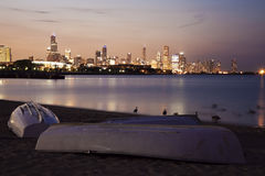 Chicago summer sunset from the beach. South from downtown Royalty Free Stock Image
