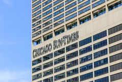 Chicago Sun-Times. Chicago, USA - May 24, 2014: Part of the Chicago Sun-Times building in Downtown with name of the newspaper on the facade Stock Photo