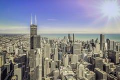 Chicago sunrise skyline aerial panorama Royalty Free Stock Image