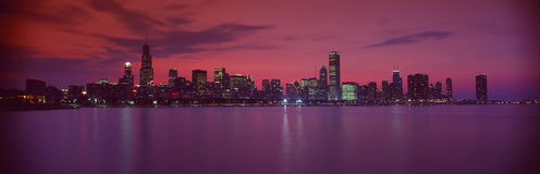 Chicago at sunset. Skyline of red Chicago at sunset royalty free stock images