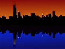 Chicago at sunset royalty free illustration