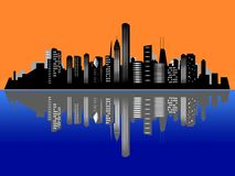 Chicago sunset city skyline Royalty Free Stock Image