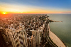 Chicago Sunset. View of North Chicago at Sunset Stock Photos
