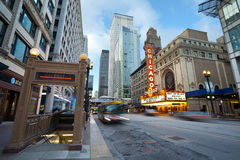 Chicago theater. Chicago, Illinois, USA - April 5, 2012: The Chicago Theatre is a landmark theater located in the Loop area of Chicago, Illinois. Built in 1921 Royalty Free Stock Photography