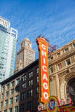 Chicago Theater Marquee. View of the Chicago Theater marquee with skyscrapers visible in the background Royalty Free Stock Photo