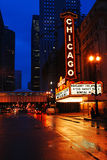 Chicago Theater. The Chicago Theater Shines on State Street in Chicago stock photos