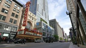 Chicago Theater at State Street in Loop District at Sunset stock video footage