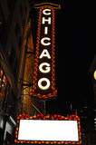 Chicago theatre sign at night. The famous Chicago theatre sign at night Stock Photos