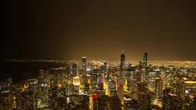 Chicago time lapse during a lightning storm. Doentown Chicago time lapse during a lightning storm stock footage