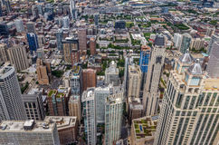 Chicago Top View. Aerial Photography over highrise Chicago building Stock Photos