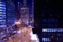 Chicago Towers at Night. Chicago Skyscrapers and Cityscape. Chicago, Illinois, USA. Night Time Photography. American Cities Photo Collection Stock Photography