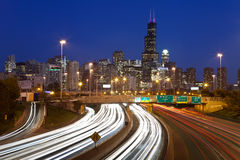 Chicago traffic. Busy interstate I94 heading to Chicago downtown royalty free stock image