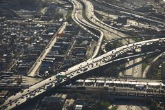 Chicago traffic. Aerial view of Interstate 90 and 94 crossing Interstate 55 in Chicago, Illinois Royalty Free Stock Photo
