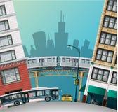 Chicago traffic. Flat illustration a stock illustration