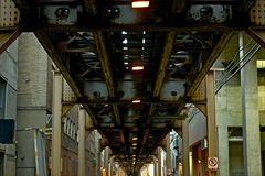 Chicago Train Bridge. Above Downtown Alley. Urban Photo Collection. Chicago, Illinois, U.S.A Stock Images