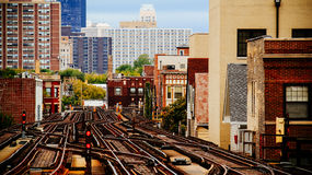 Chicago Train Tracks Urban. Looking up the tracks, north of downtown Chicago, Illinois Stock Photos