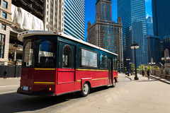 Chicago-Tram am Stadtzentrum, Illinois, USA Lizenzfreies Stockfoto
