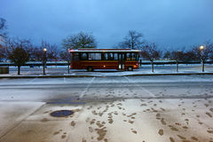 Chicago Trolley in the Snow. A Chicago Trolley, or tourust bus, in the snow late in the evening Royalty Free Stock Images