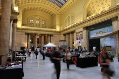 Chicago Union Station. CHICAGO - JUNE 26: People visit Union Station on June 26, 2013 in Chicago. It is the 3rd busiest rail terminal in the United States Royalty Free Stock Photography