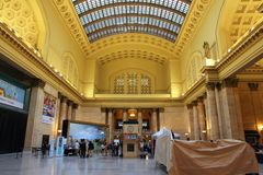 Chicago Union Station. CHICAGO, USA - JUNE 26, 2013: People visit Union Station in Chicago. It is the 3rd busiest rail terminal in the United States serving 120 Stock Photography