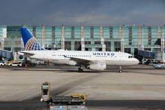 CHICAGO, UNITED STATES - APRIL 15, 2014: United Airlines Airbus A319 at O 'Hare Airport in Chicago. It was the 5th busiest airport. In the world with 66,883,271 royalty free stock photo