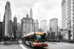 Chicago traffic. Chicago, United States - June 17, 2017: Bus drives downtown in Chicago. Chicago is the 3rd most populous US city with 2.7 million residents 8.7 stock photography