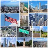 Chicago, United States. Photo collage from Chicago, United States. Collage includes major landmarks like city skyline, the Loop and Gold Coast of Lake Michigan royalty free stock photos