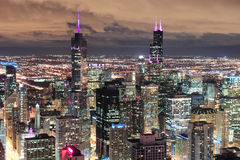 Chicago Urban aerial view at dusk Royalty Free Stock Photography