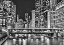 Chicago Urban Landscape at Night Stock Photos