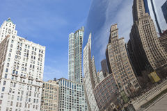 CHICAGO, USA - APRIL 02: Cloud Gate and Chicago skyline on April Stock Image