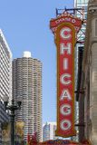 Iconic Chicago Theater Sign. Chicago, USA - April 7, 2018: Iconic sign on the Chicago Theater on North State Street in Chicago. The theater opened in 1921 and stock image