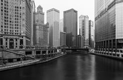 Chicago, USA: Black and white photo of Chicago downtown. Chicago - March 2017, IL, USA: Black and white photo of Chicago downtown with skyscrapers, hotels Royalty Free Stock Photos