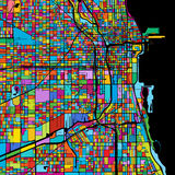 Chicago, USA, Colorful Vector Map on Black Royalty Free Stock Photos