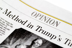Chicago USA-Feb 12 2017:The Wall Street Journal Newspaper,Opinion Section (for editorial use only) Stock Photography