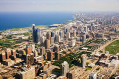 CHICAGO USA - 20 Juli, 2017: Flyg- sikt av Chicago, Illinois Royaltyfri Bild