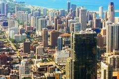CHICAGO USA - 20 Juli, 2017: flyg- sikt av staden av Chicago Royaltyfri Foto
